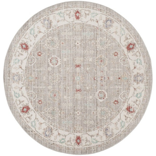 Safavieh Windsor Vintage Light Grey/ Ivory Cotton Rug - 6' Round