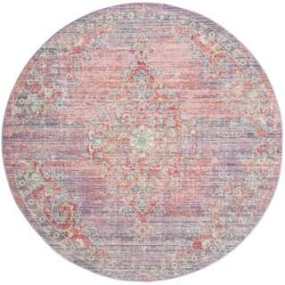 Safavieh Windsor Vintage Lavender/ Fuchsia Cotton Rug (6' Round)