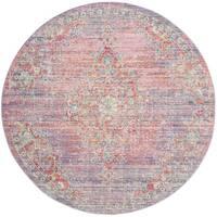 Safavieh Windsor Vintage Lavender/ Fuchsia Cotton Rug - 6' Round