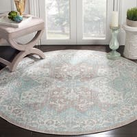 Safavieh Windsor Vintage Light Grey/ Aqua Cotton Rug - 6' Round