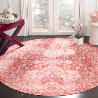 Safavieh Windsor Vintage Rose/ Red Cotton Rug (6' Round)