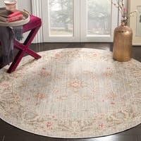 Safavieh Windsor Vintage Light Grey/ Brown Cotton Rug - 6' Round