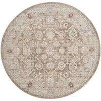 Safavieh Windsor Vintage Brown/ Ivory Cotton Rug - 6' Round
