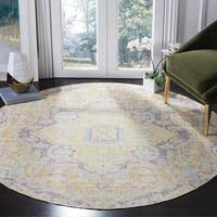 Safavieh Windsor Vintage Light Grey/ Lime Cotton Rug - 6' Round
