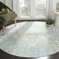 Safavieh Windsor Vintage Blue/ Lime Cotton Rug - 6' x 6' Round