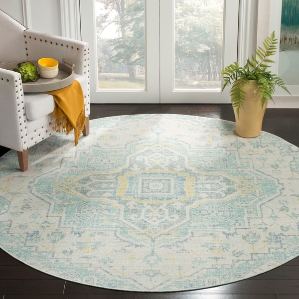 Safavieh Windsor Vintage Light Grey/ Seafoam Cotton Rug - 6' Round