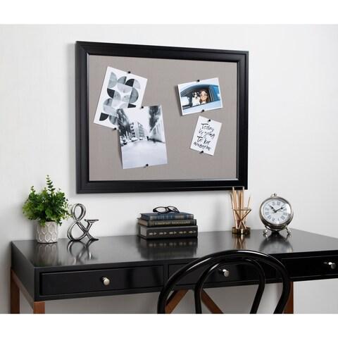 DesignOvation Bosc Framed Gray Linen Fabric Pinboard