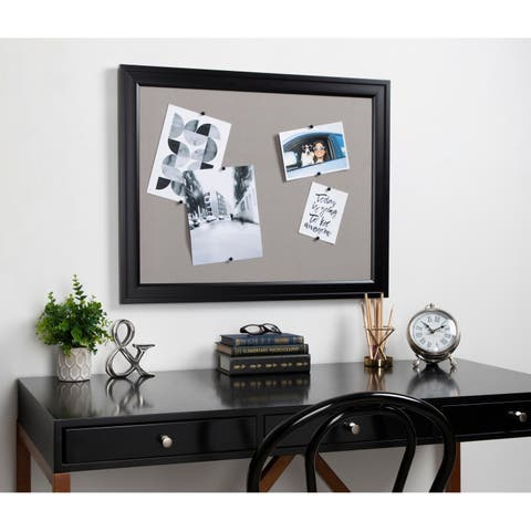 DesignOvation Bosc Framed Gray Linen Fabric Pinboard