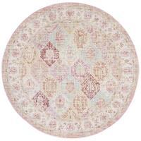 Safavieh Windsor Vintage Pink/ Multi Silky Rug - 6' Round
