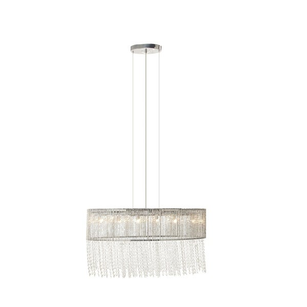 Glam 17 x 12 Inch Iron and Crystal Pendant with Bulb by Studio 350