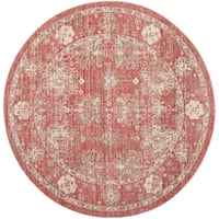 Safavieh Windsor Vintage Red/ Ivory Cotton Rug - 6' x 6' Round