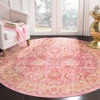 Safavieh Windsor Vintage Pink/ Orange Cotton Rug (6' Round)