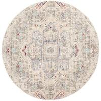 Safavieh Windsor Vintage Light Grey/ Ivory Cotton Rug - 6' Round