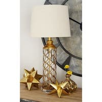 "6"" x 30"" Metal and Glass Table Lamp w/ Linen Drum Shade by Studio 350"