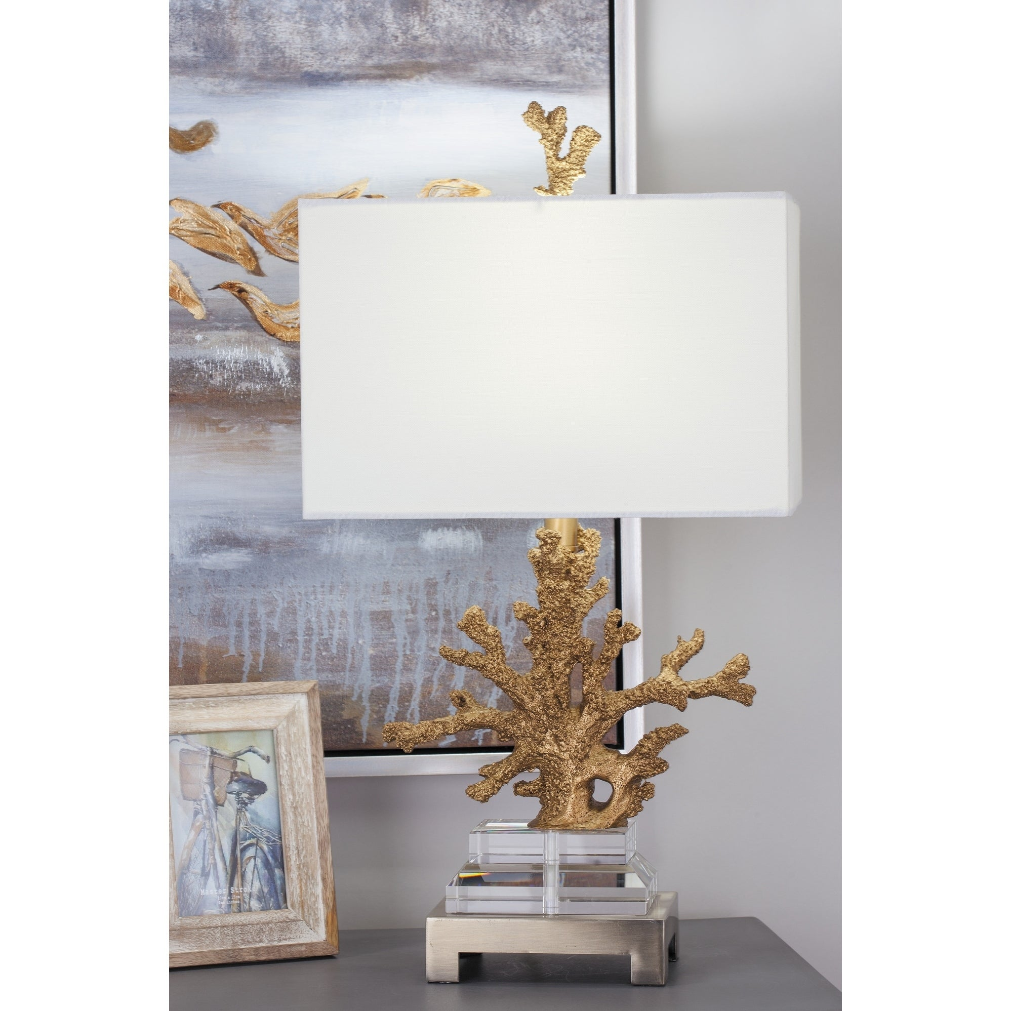 Set of 2 Coastal 26 Inch Gold Coral Table Lamps by Studio 350