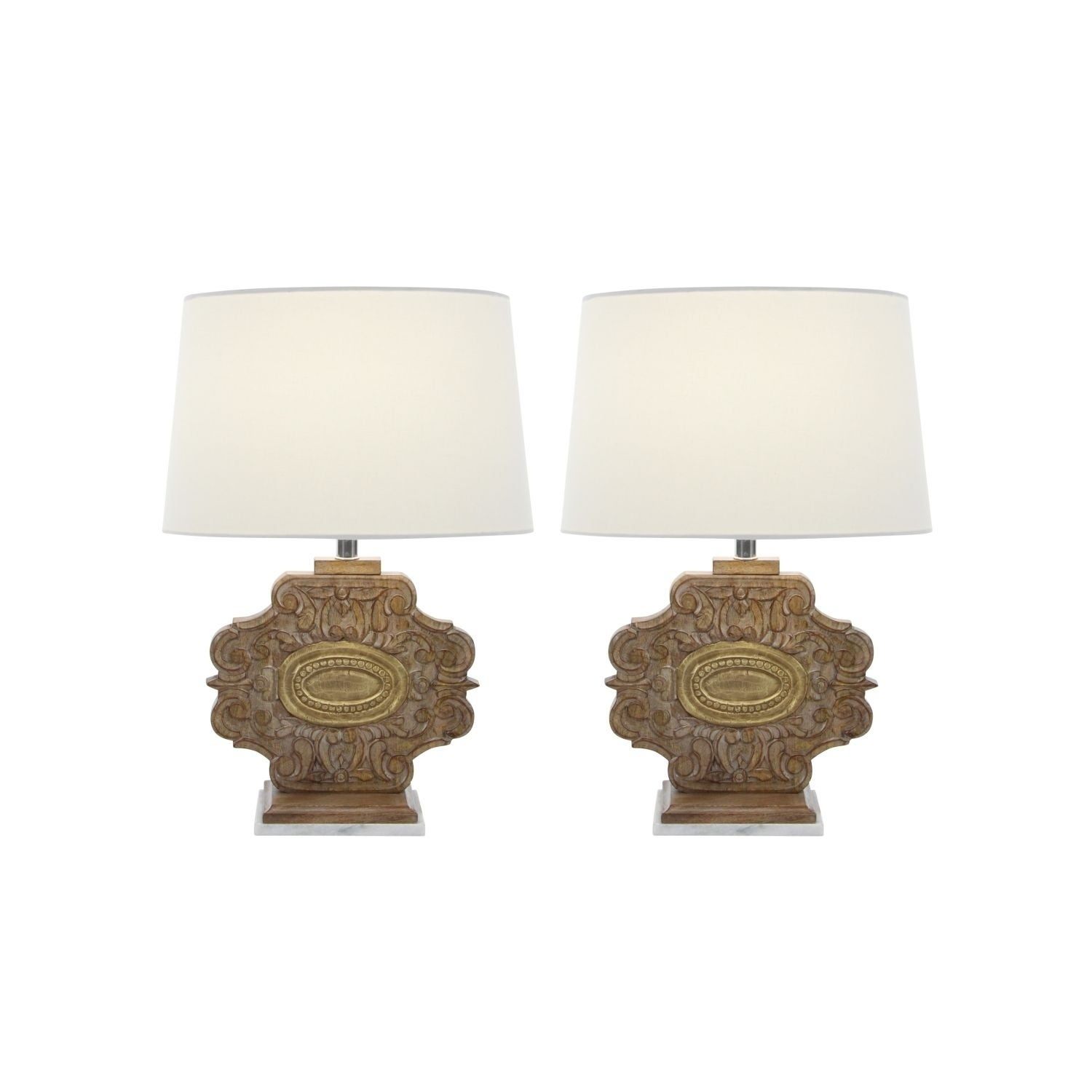 Studio 350 Set of 2, Wood Marble Carved Table Lamp 23 inc...