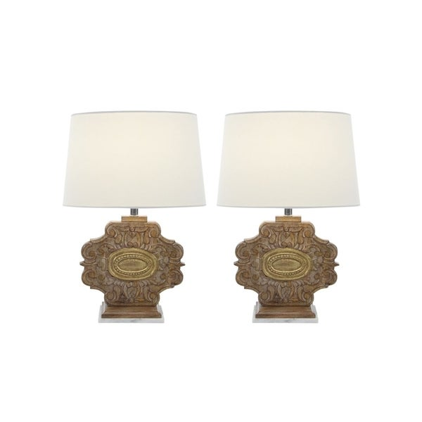 Studio 350 Set of 2, Wood Marble Carved Table Lamp 23 inches high