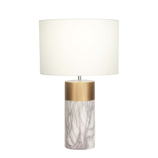 Studio 350 Ceramic White Gold Table Lamp 24 inches high