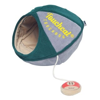 Touchcat Saucer Oval Collapsible Walk-Through Pet Cat Bed House w/ Toy