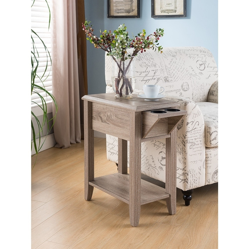 Side Table With Storage.Sintechno S Id161581 Side Table Storage Drawer And Cup Holders