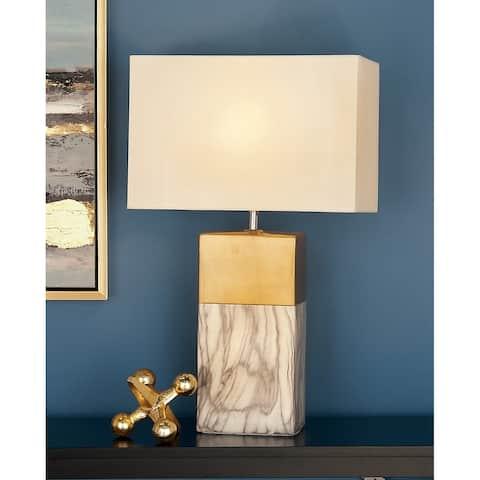 """Large Rectangular White Marble Table Lamp with Metallic Gold Trim & White Rectangular Shade 8"""" x 25"""""""