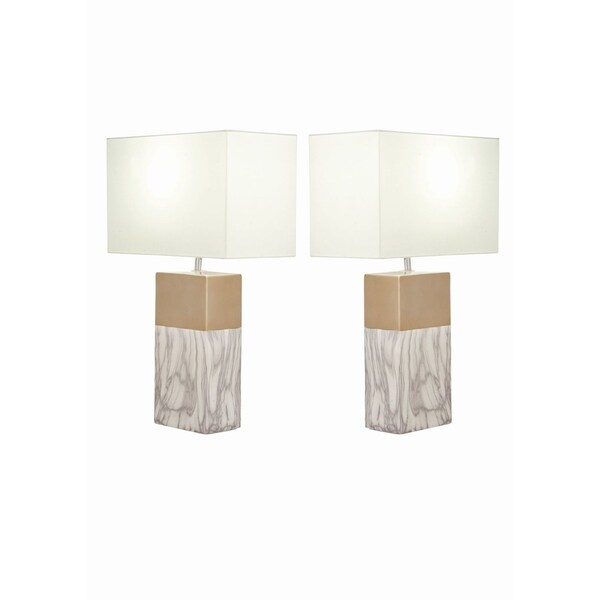 Studio 350 Set Of 2, Ceramic White Gold Table Lamp 25 Inches High