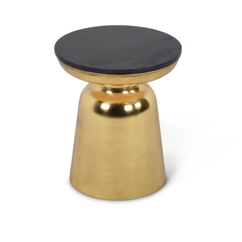 Jatani Brass/ Granite Round End Table by Greyson Living
