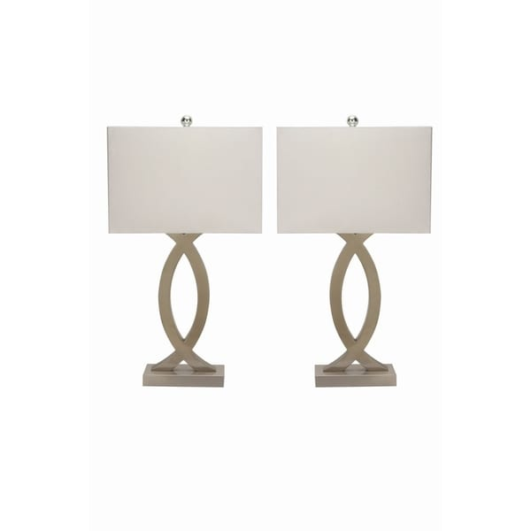 Studio 350 Set of 2, Metal Table Lamp 10 inches wide, 28 inches high