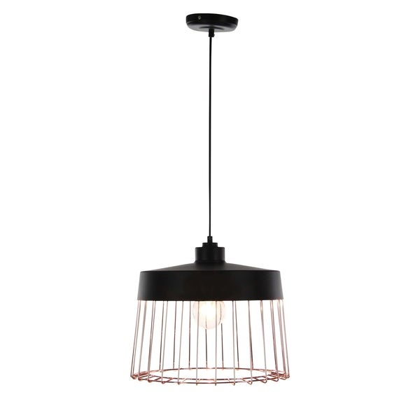Contemporary 11 x 12 Inch Round Iron Pendant with Bulb by Studio 350