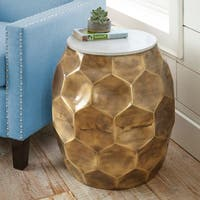 Sirsi Brass Finished Iron/ Marble Round End Table  by Greyson Living