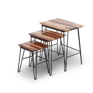 Tarana Sheesham Brown Wood 3-piece Nesting Table Set  by Greyson Living