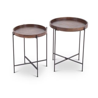 Cassidy Mango Wood/ Metal Round 2-piece Accent Table Set  by Greyson Living