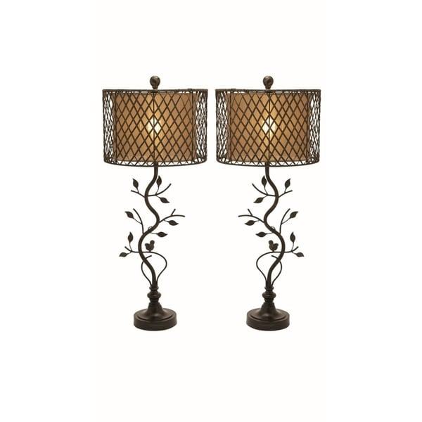 Studio 350 Set of 2, Metal PS Rattan Table Lamp 35 inches high