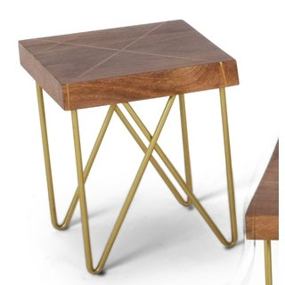 Brown Mango Wood End Table with Brass Inlay by Greyson Living