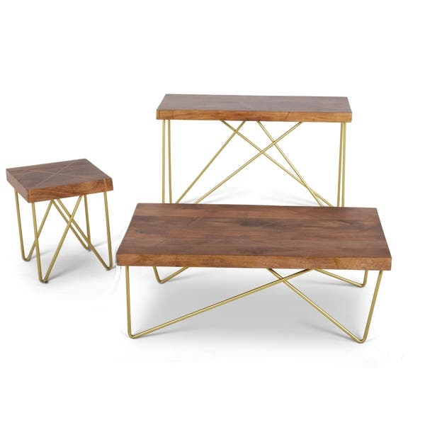 Cool Brown Mango Wood End Table With Brass Inlay By Greyson Living Theyellowbook Wood Chair Design Ideas Theyellowbookinfo