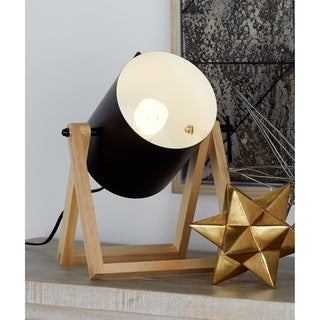 Studio 350 Set of 2, Metal Wood Accent Lamp 12 inches wide, 12 inches high