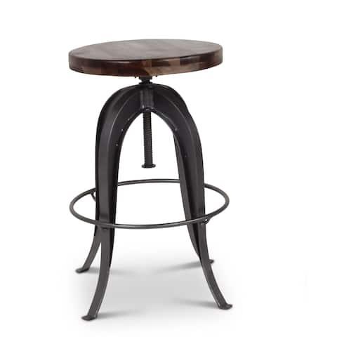 Seoni Dark Russet/ Grey/ Black Sheesham Wood/ Iron Adjustible-height Stool by Greyson Living