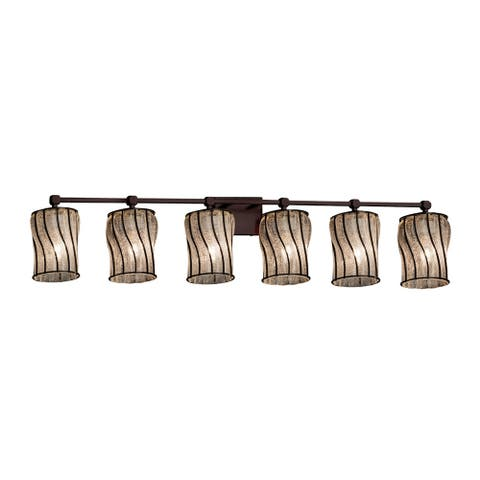 Justice Design Wire Glass Tetra 6-light Dark Bronze Bath Bar, Swirl with Clear Bubbles Cylinder - Flat Rim Shade