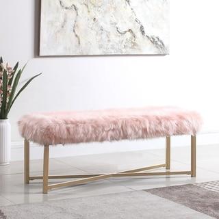 HomePop Faux Fur Rectangle Bench