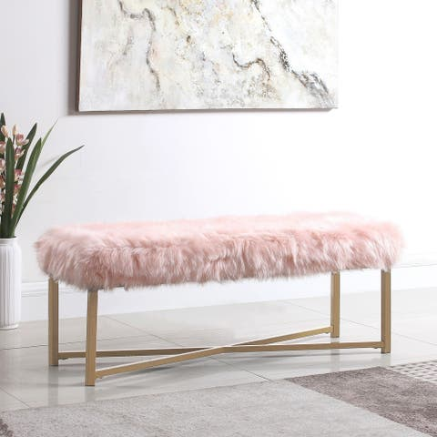 Silver Orchid Kelly Pink Faux Fur Rectangle Bench