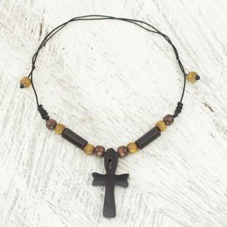 Handcrafted Ebony Bamboo 'African Ankh' Necklace (Ghana)