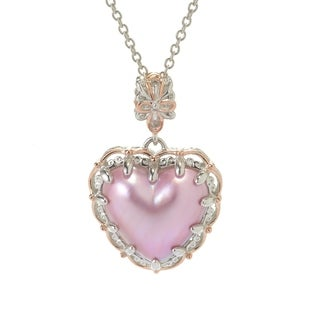 Michael Valitutti Palladium Silver Pink Mabe Cultured Pearl Heart Pendant