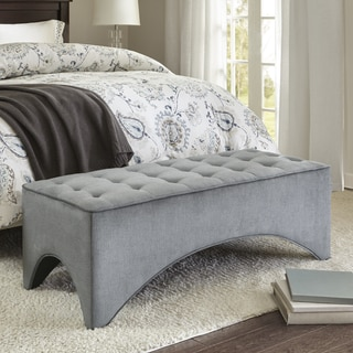 Madison Park Loretta Grey Button-tufted Ottoman