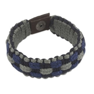 Handcrafted Men's Polypropylene Gray, Navy Blue and Black Cords Recycled Paper 'Flowing Spring' Wristband Bracelet (Ghana)