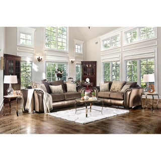 Furniture of America Linwood Classic Contemporary 2-piece Two-Tone Sofa Set (4 options available)