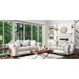 Furniture of America Linwood Classic Contemporary 2-piece Two-Tone Sofa Set
