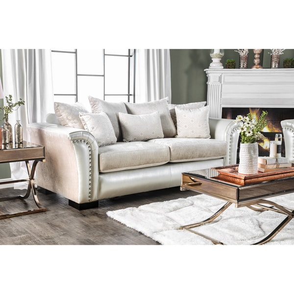 Furniture of America Linwood Classic Contemporary Two-Tone Sofa  sc 1 st  Overstock.com & Shop Furniture of America Linwood Classic Contemporary Two-Tone Sofa ...