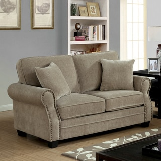 Furniture of America Balerina Transitional Brown Chenille Loveseat