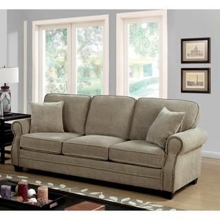 Furniture of America Balerina Transitional Brown Chenille Sofa