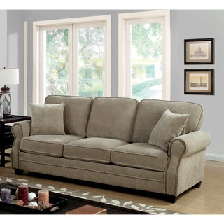 Furniture of America Balerina Transitional Brown Chenille Sofa